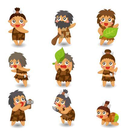 caveman: Cartoon cavern�cola icono conjunto, vector