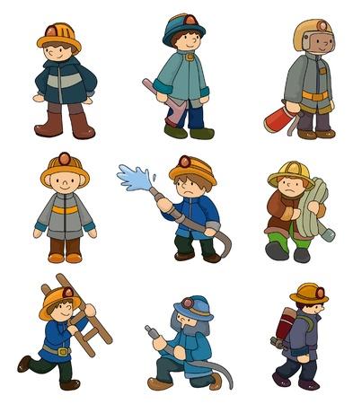 borne fontaine: bande dessin�e pompier jeu d'ic�nes Illustration