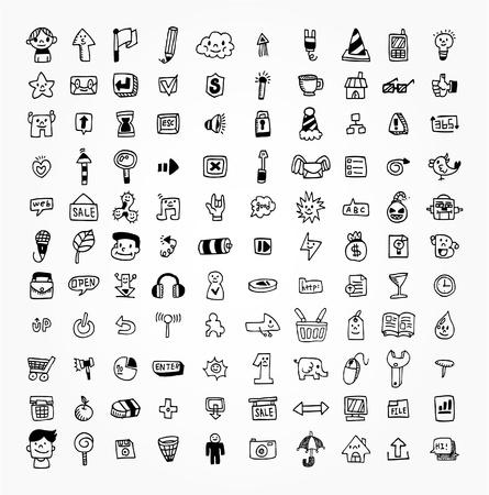 100 hand draw web icon Stock Vector - 9829669