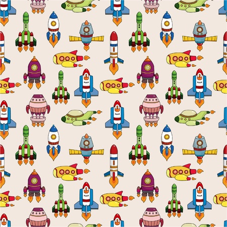 cartoon rocket: seamless spaceship pattern