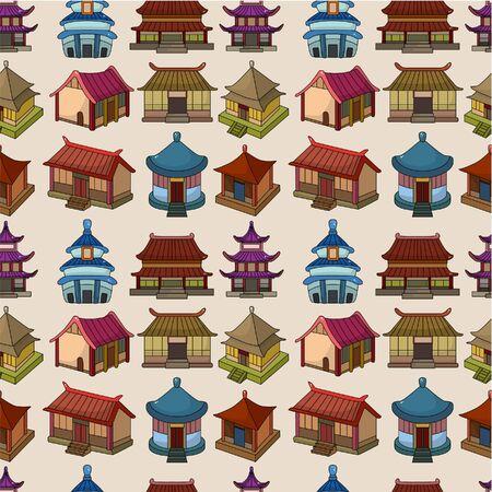 만화 중국 집 원활한 패턴 일러스트