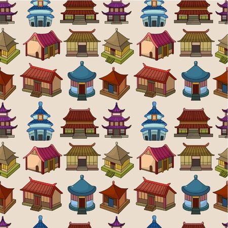 chinese temple: cartoon Chinese house seamless pattern  Illustration