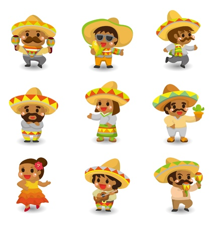 mexican: cartoon Mexican people icon set