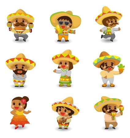 caricatura mexicana: dibujo animado de conjunto de iconos de los mexicanos