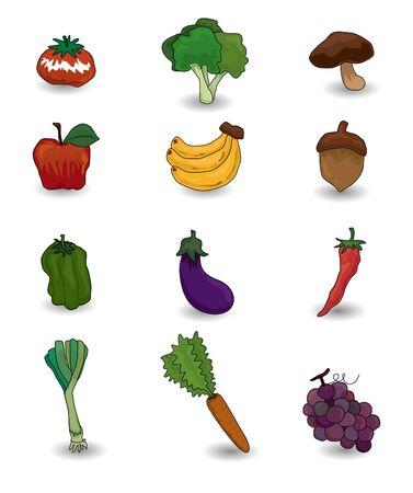 만화 과일 및 야채 아이콘 세트