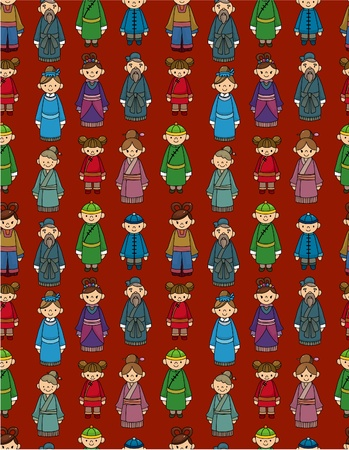 cartoon Chinese people seamlese pattern Vector