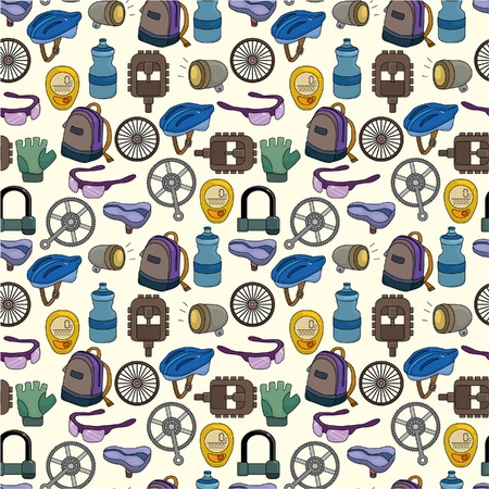tool bag: cartoon bicycle equipment seamless pattern  Illustration