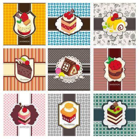 blueberry muffin: 9 cartoon cake card set  Illustration