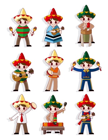 cartoon Mexican music band icon set