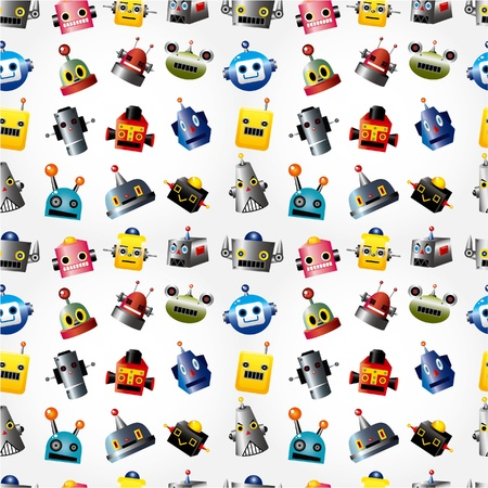 cartoon robot face seamless pattern Stock Vector - 9829719