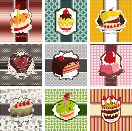 9 cute cartoon cake card set Stock Vector - 9829721