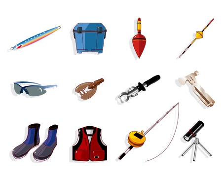 cartoon fishing equipment tools icon set ,vector Vector