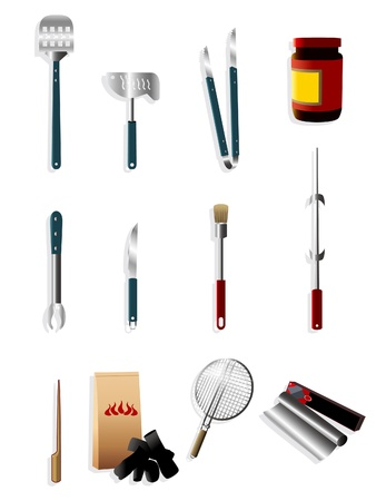 cartoon barbeque party tool icon Vector