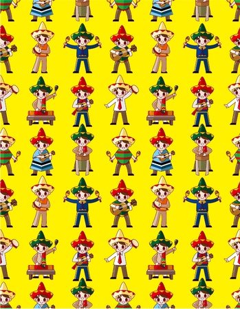 cartoon Mexican music band -seamless pattern,vector Vector