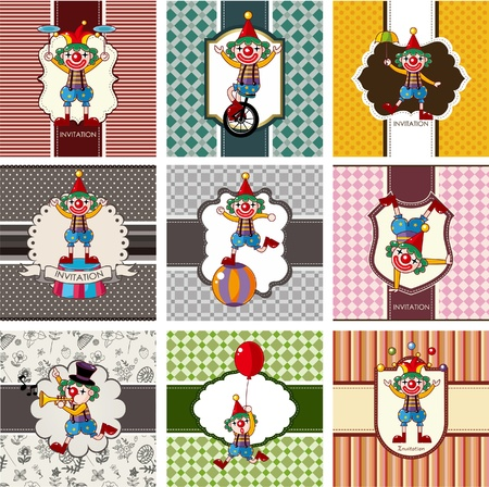 9 cute cartoon clown card Vector