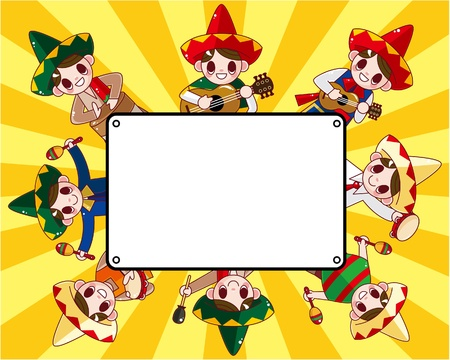mexican cartoon: cartoon Mexican music band ,board card,vector Illustration
