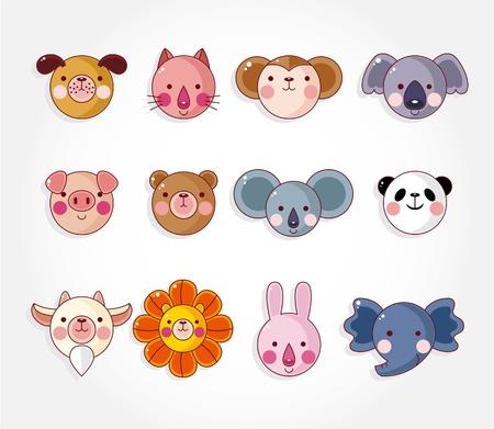 cartoon animal face icon set,vector Vector