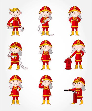 cartoon Fireman icon set  Vector