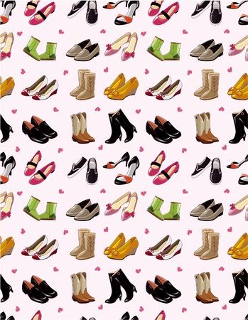 comprando zapatos: Cartoon zapatos patr�n transparente