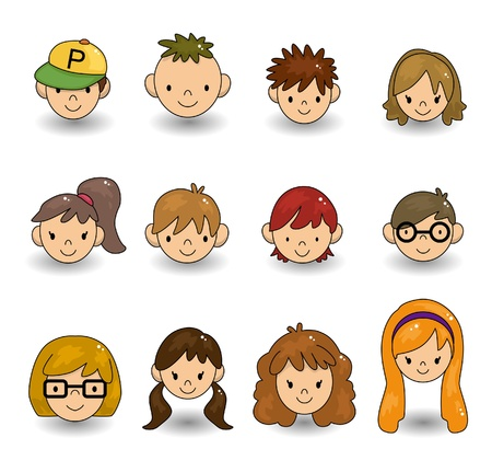 cartoon face: cartoon young people face icon