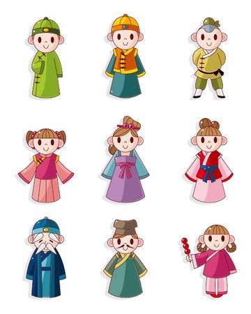 chinese cartoon: cartoon Chinese people icon set
