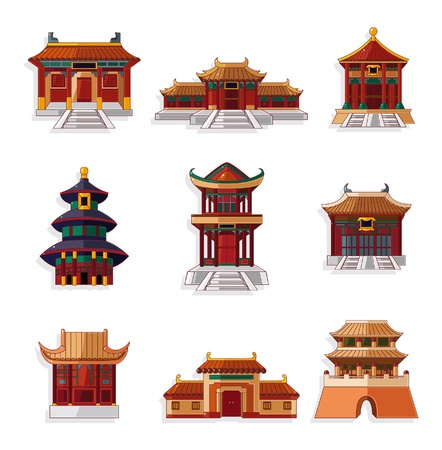 wooden houses: cartoon Chinese house icon set