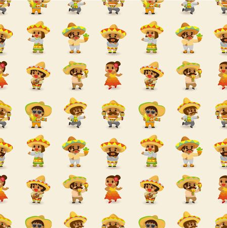 mexican boy: cartoon Mexican people-seamless pattern,vector  Illustration