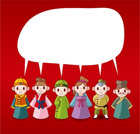 national costume: cartoon chinese people speech ,card
