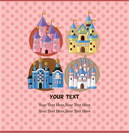 cartoon castle card  Vector