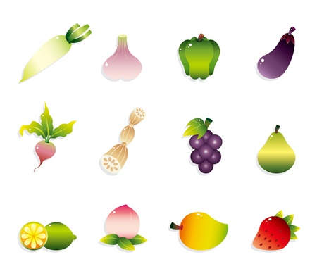 cartoon Fruits and Vegetables icon set Stock Vector - 9935380