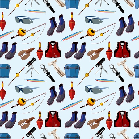 bait box: cartoon Fishing seamless pattern