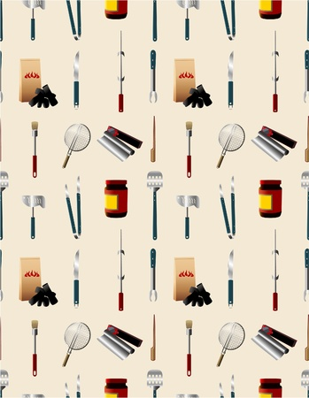 cartoon barbeque party tool seamless pattern  Vector