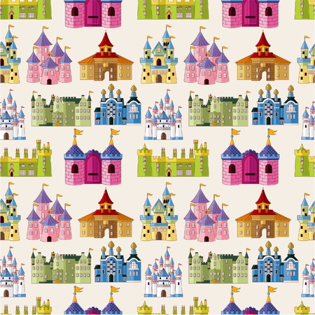 cartoon Fairy tale castle seamless pattern Stock Vector - 9935384