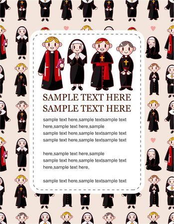 catholic church: cartoon Priest and nun card Illustration