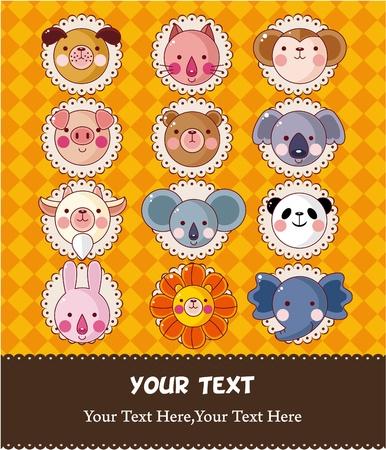 cartoon animal face card  Vector
