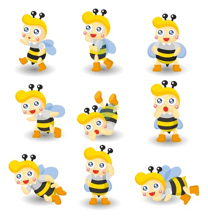 cartoon bee boy icon set Vector