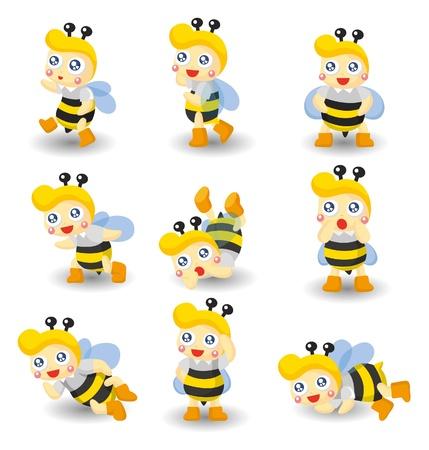 cartoon bee boy icon set Vector