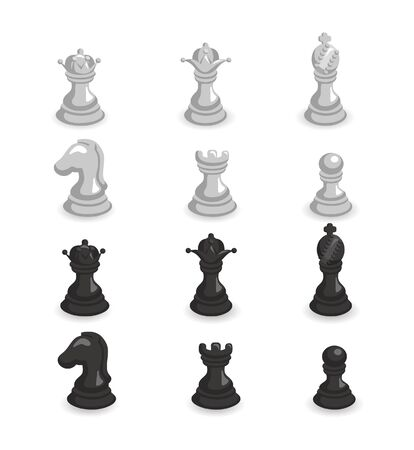 illustration of set of white and black chess Stock Vector - 9935215