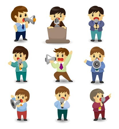 inteligencia emocional: conjunto de empleado de Oficina de cartoon divertido hablar con micr�fono y altavoz