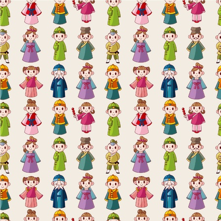 national costume: cartoon Chinese people seamlese pattern  Illustration