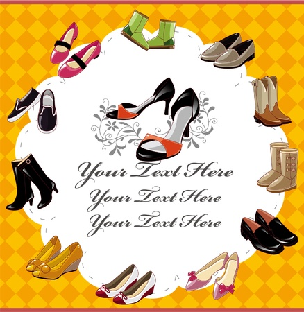 leather shoe: fashion  shoe card Illustration