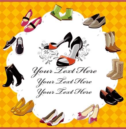 comprando zapatos: tarjeta de calzado de moda Vectores