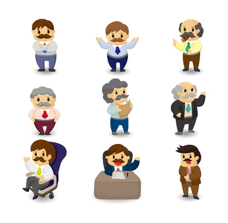 manager: cartoon boss and Manager icon set Illustration