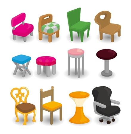 chair cartoon: cartoon chair furniture icon set Illustration