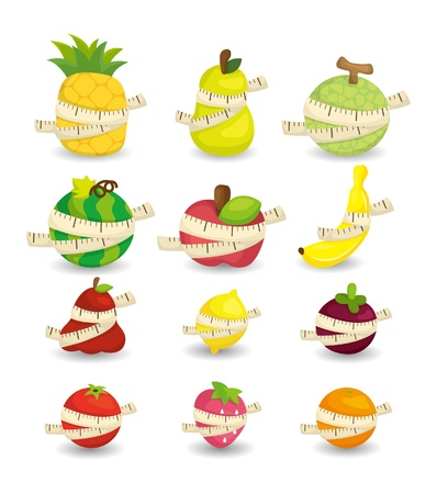 set of fresh fruit and ruler health icon Vector
