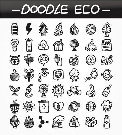 cartoon doodle eco icon set 矢量图像