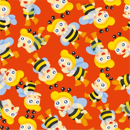 cartoon bee boy seamless pattern Vector