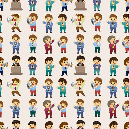 funny cartoon office worker talk with Microphone and speaker seamless pattern Vector