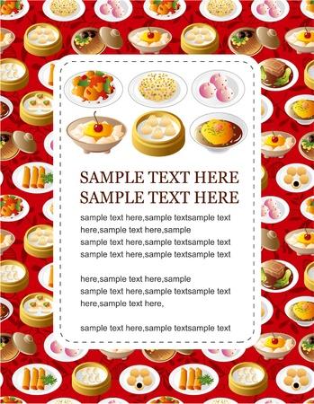 bollos: tarjeta de comida china de dibujos animados  Vectores