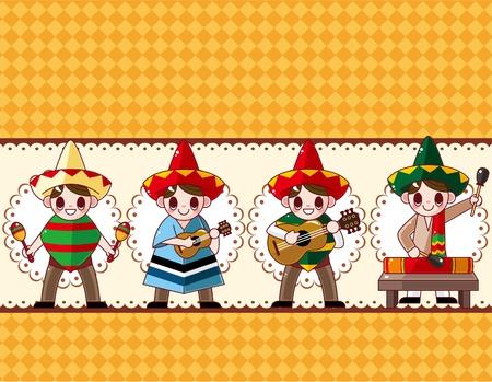 mexican boy: cartoon Mexican music band ,board card,vector